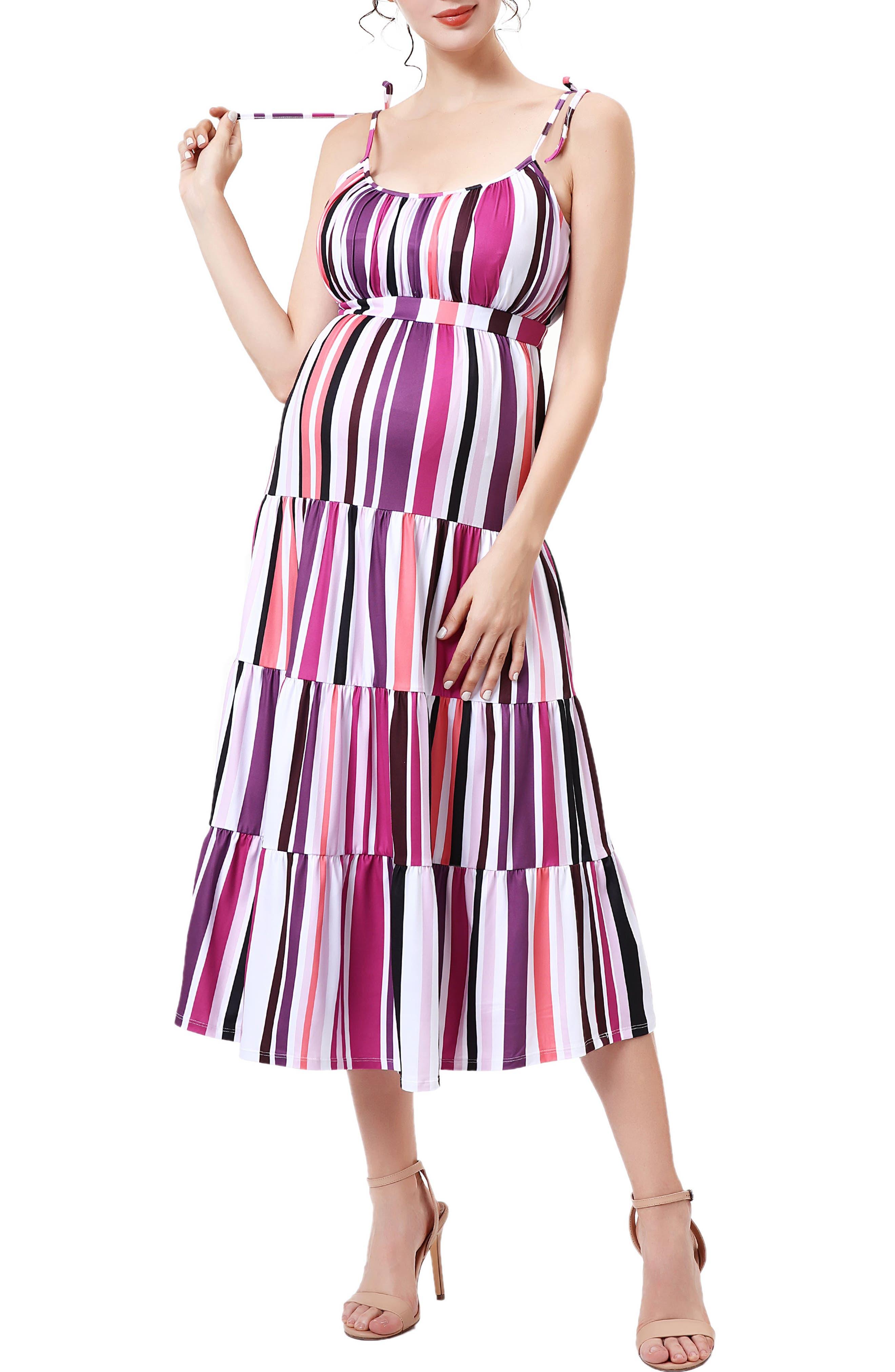 Stripe Ruffle Maternity Jersey Sundress