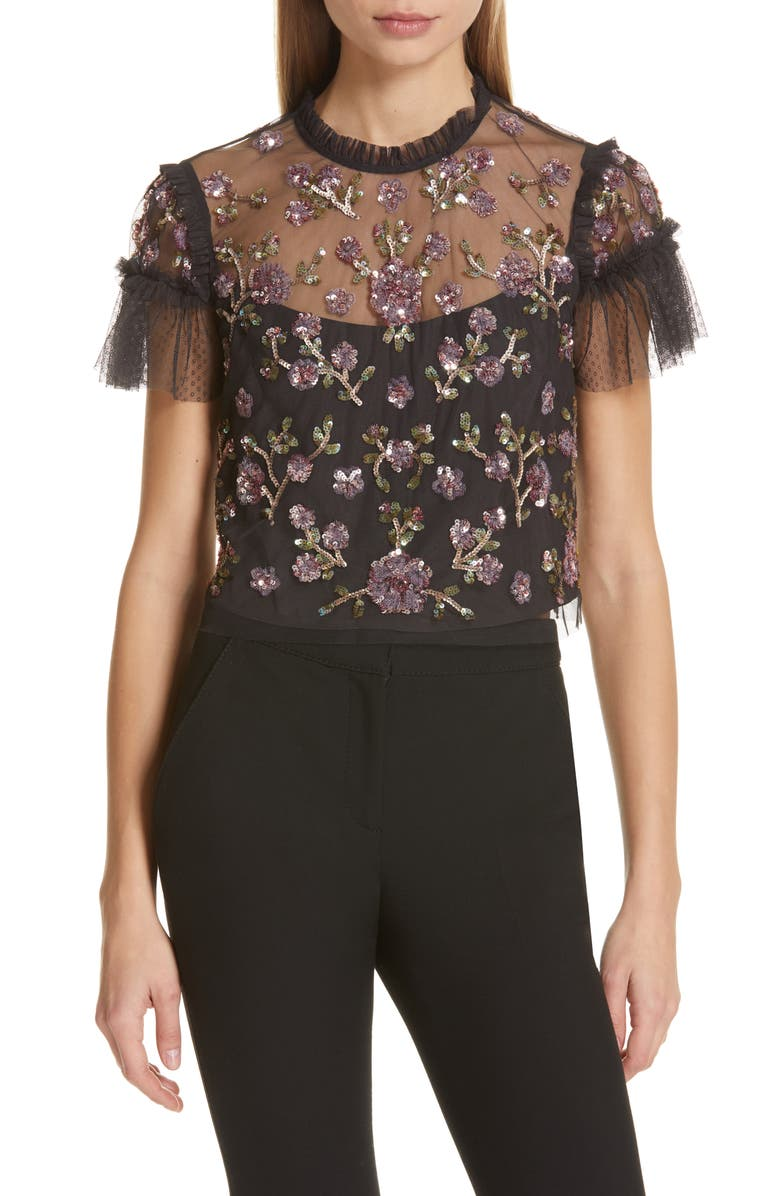 NEEDLE & THREAD Carnation Sequin Top, Main, color, 001