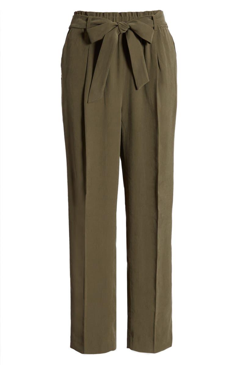 CHELSEA28 Straight Leg Tie Waist Pants, Main, color, OLIVE SARMA