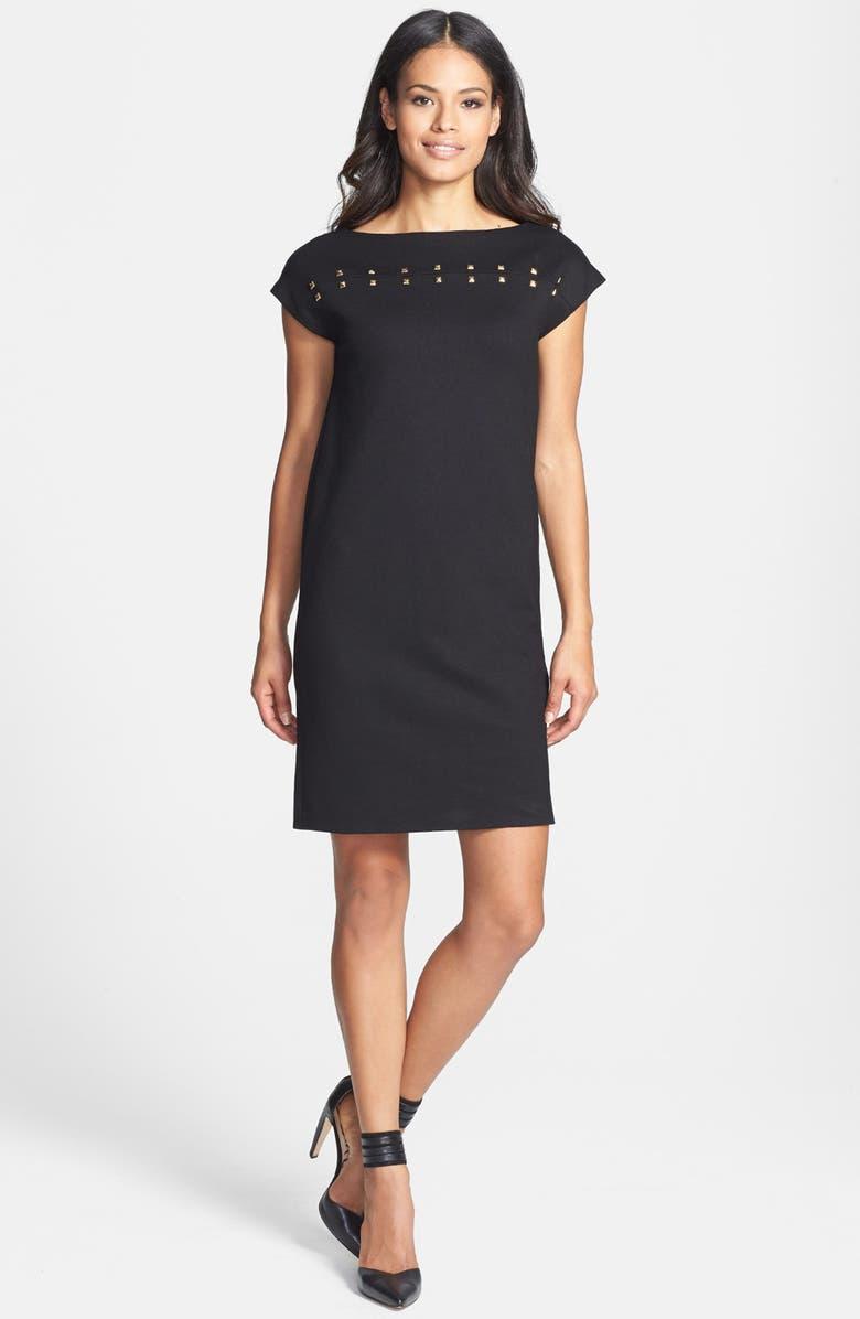 ISAAC MIZRAHI NEW YORK Studded Ponte Shift Dress, Main, color, 001