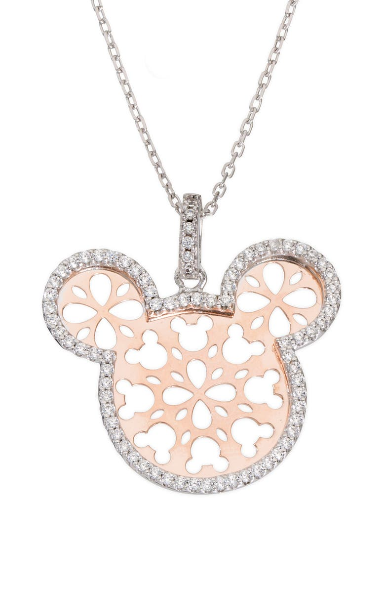 DISNEY Mickey Mouse Crystal Two-Tone Pendant Necklace, Main, color, 650