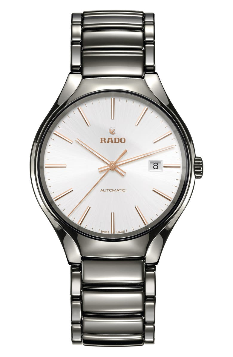 RADO True Automatic Ceramic Bracelet Watch, 40mm, Main, color, PLASMA/ WHITE/ PLASMA
