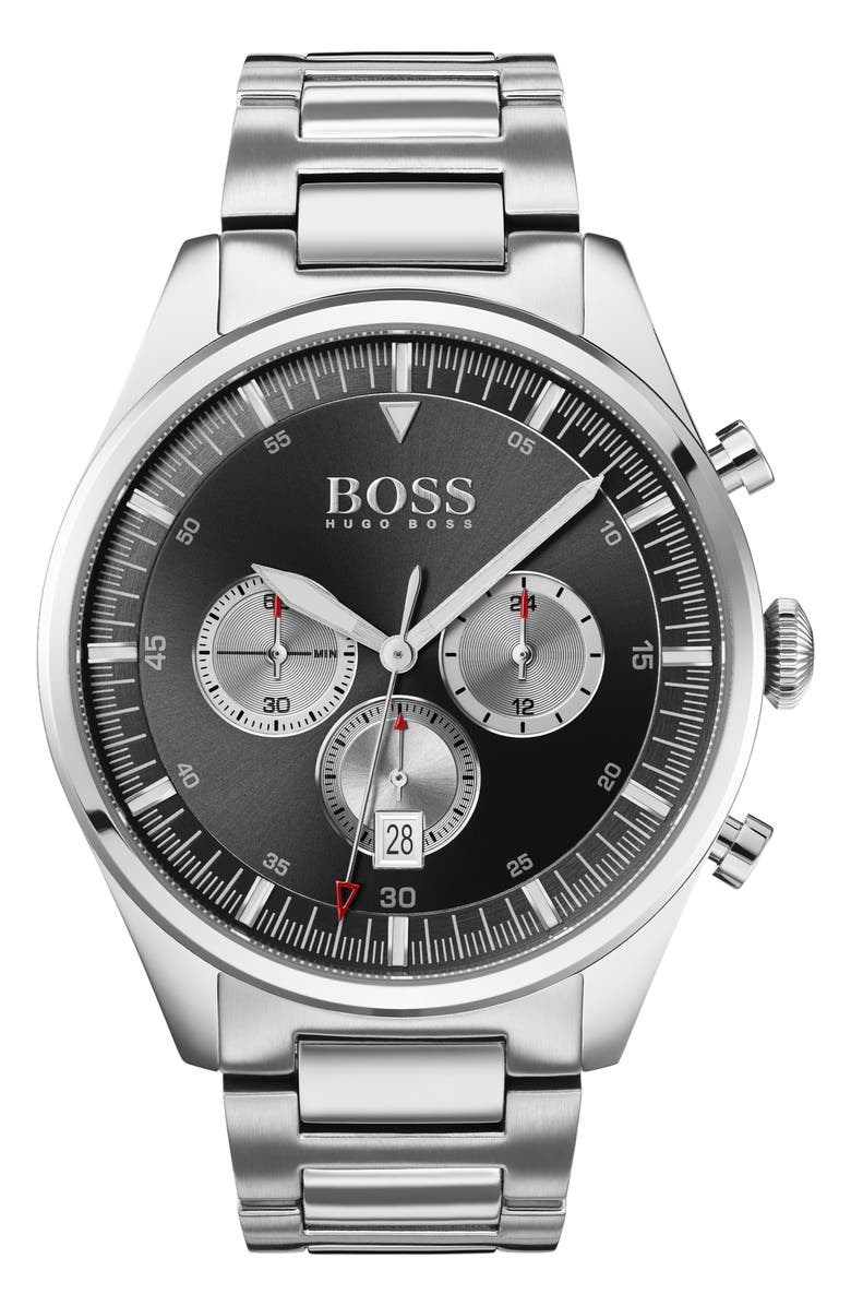 BOSS Pioneer Chronograph Bracelet Watch, 44mm, Main, color, SILVER/ BLACK/ SILVER