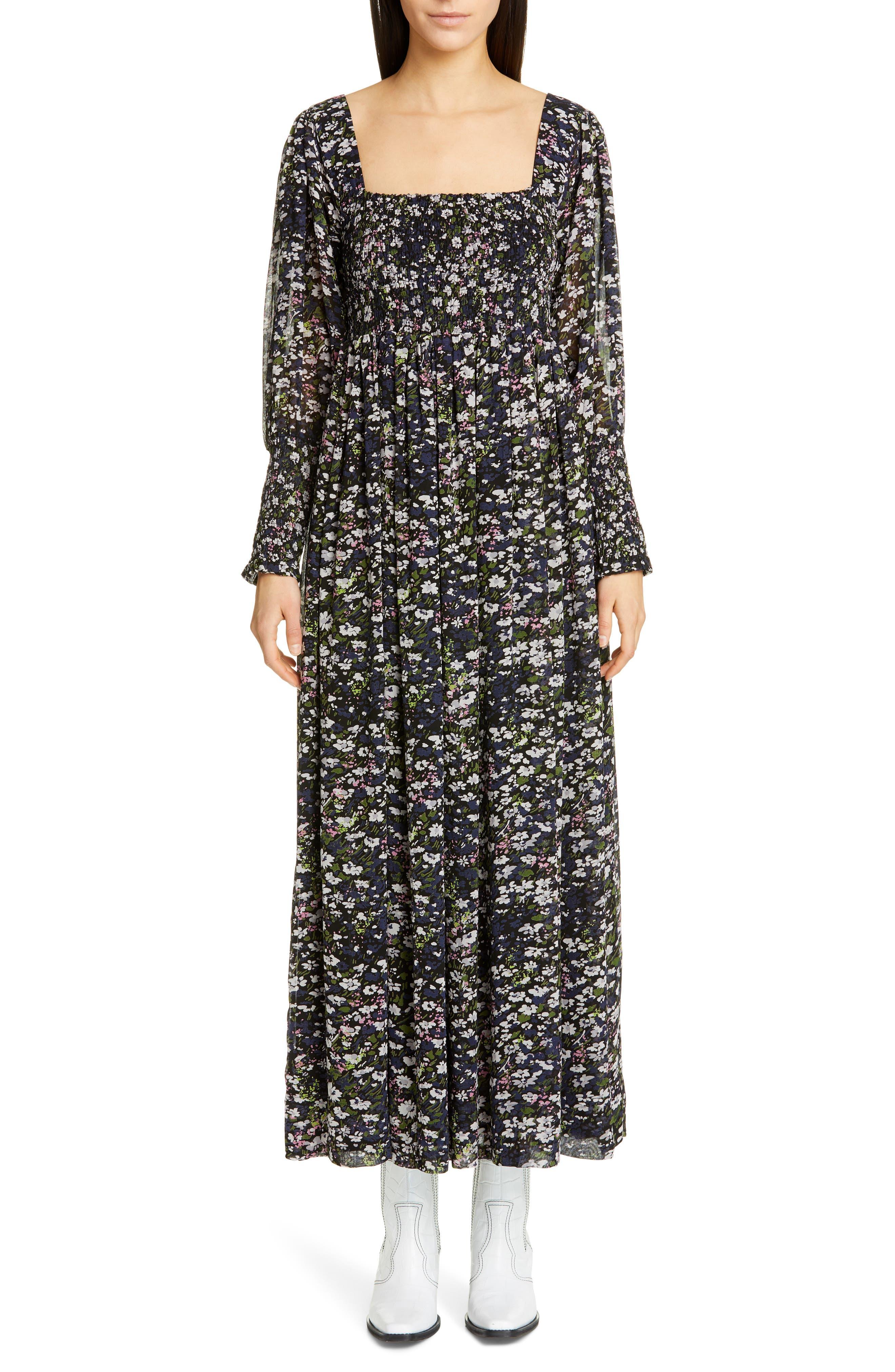 Ganni Floral Print Long Sleeve Georgette Maxi Dress, Black