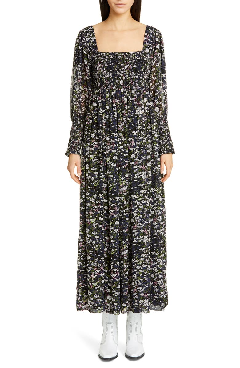 6bcac6da Floral Print Long Sleeve Georgette Maxi Dress, Main, color, BLACK