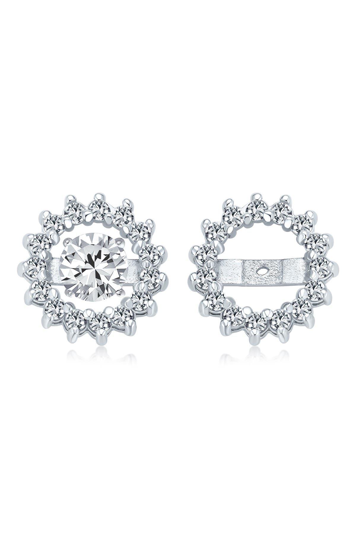 Image of Bling Jewelry CZ Stud & Halo Jacket Earrings