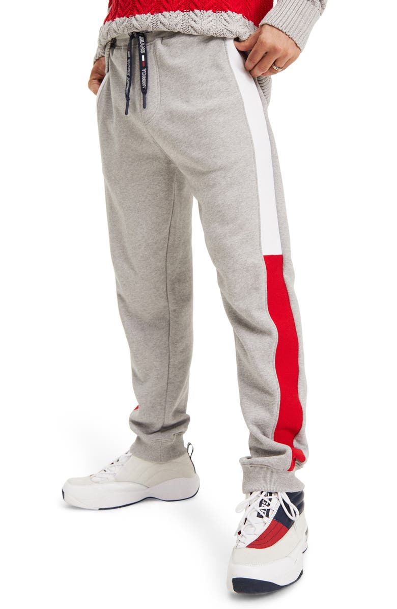 TOMMY JEANS TJM Flag Panel Sweatpants, Main, color, LIGHT GREY HEATHER