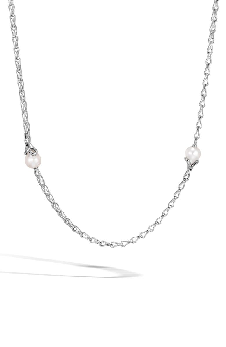JOHN HARDY Bamboo Pearl Station Necklace, Main, color, SILVER/ PEARL