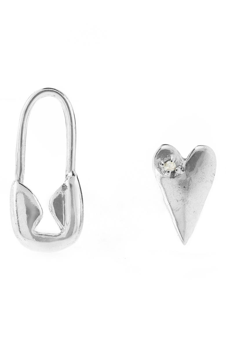 ADORNIA Mismatched Earrings, Main, color, SILVER
