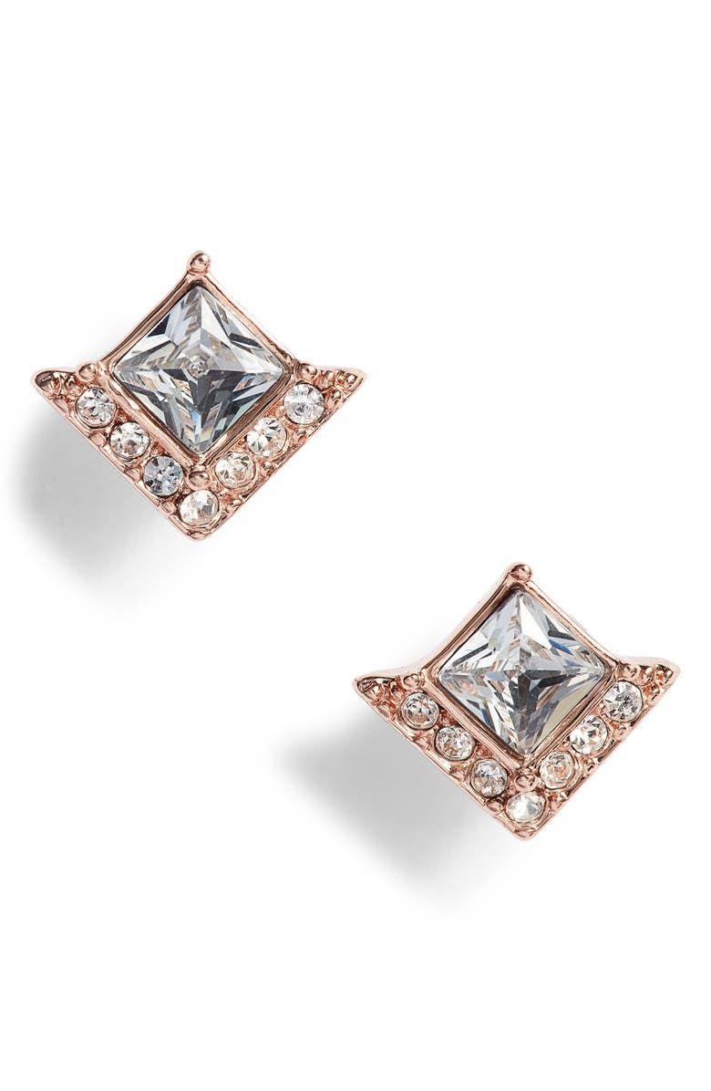 VINCE CAMUTO Crystal Pavé Stud Earrings, Main, color, ROSE GOLD/ CRYSTAL