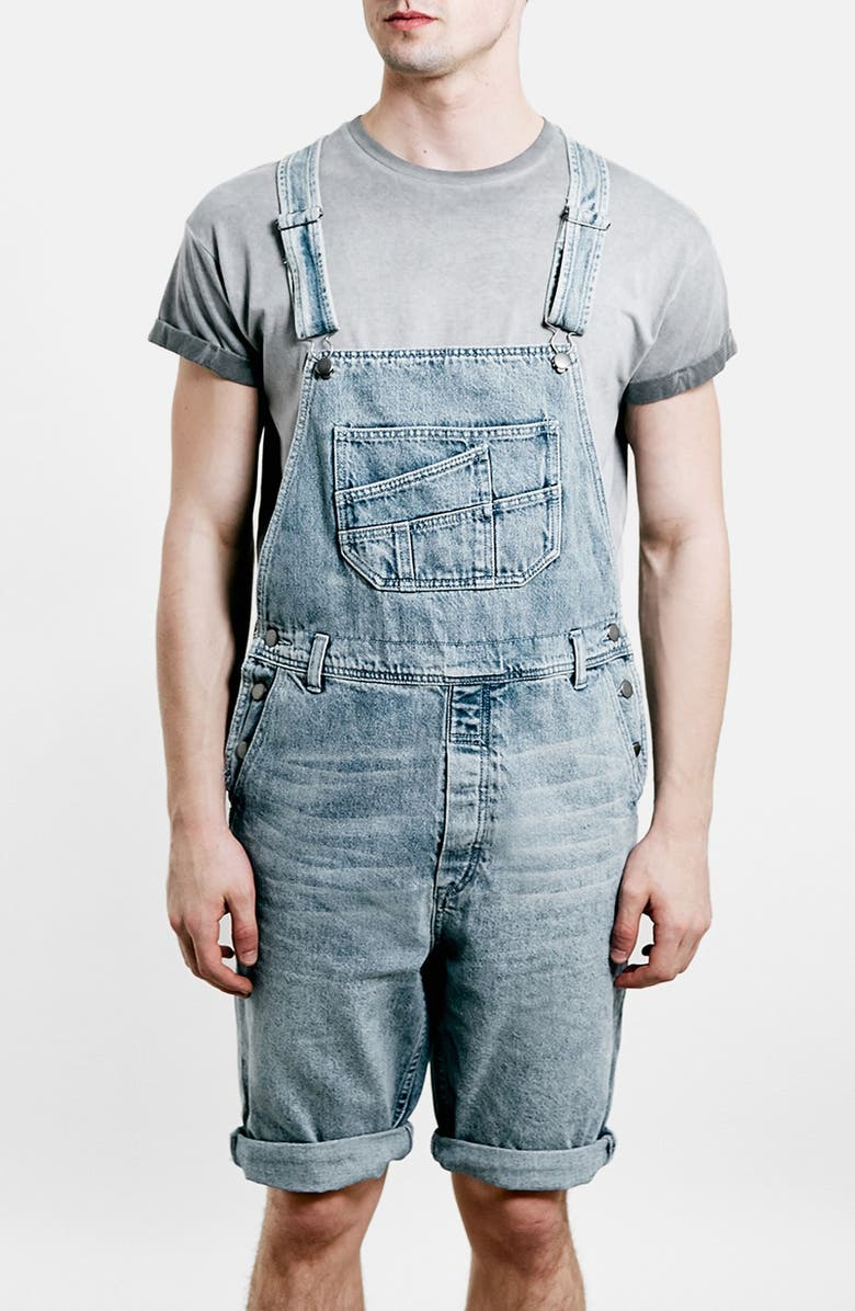 TOPMAN Denim Overall Shorts, Main, color, 400