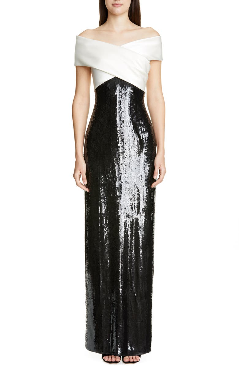ST. JOHN COLLECTION Layered Sequin Silk Georgette Gown, Main, color, CREAM/ CAVIAR