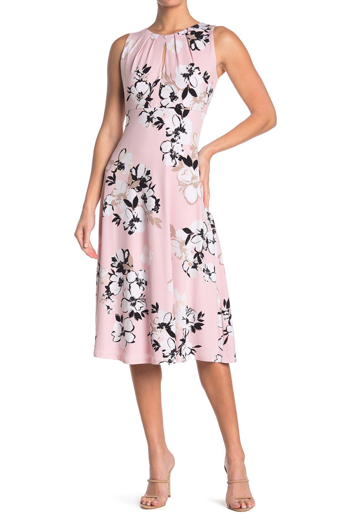Image of London Times Jersey Floral Print Midi Dress