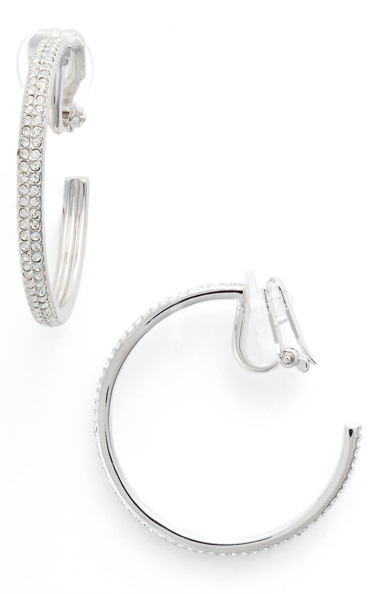 NADRI Clip-On Hoop Earrings, Main, color, SILVER