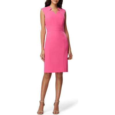Tahari Crepe Star Sheath Dress, Pink