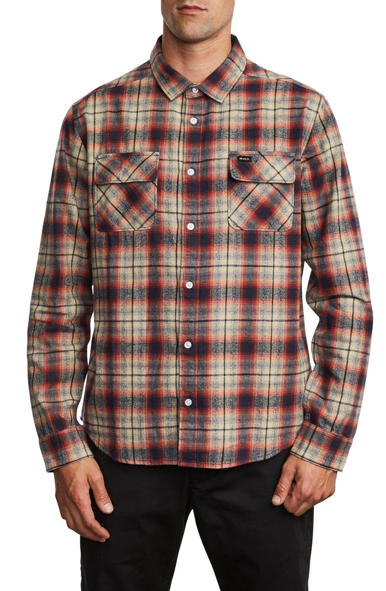 RVCA Hostile Plaid Button-Up Flannel Shirt, Main, color, BAKED APPLE