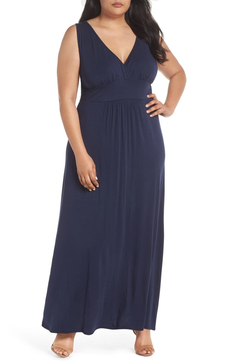 LOVEAPPELLA Surplice Maxi Dress, Main, color, MIDNIGHT
