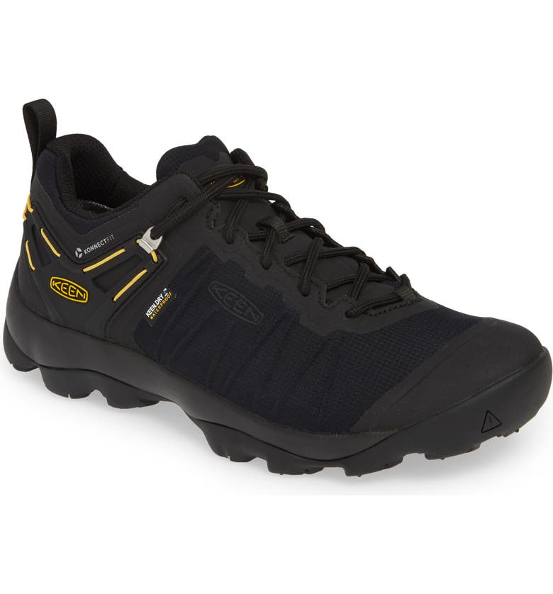 KEEN Venture Waterproof Hiking Shoe, Main, color, BLACK/ KEEN YELLOW