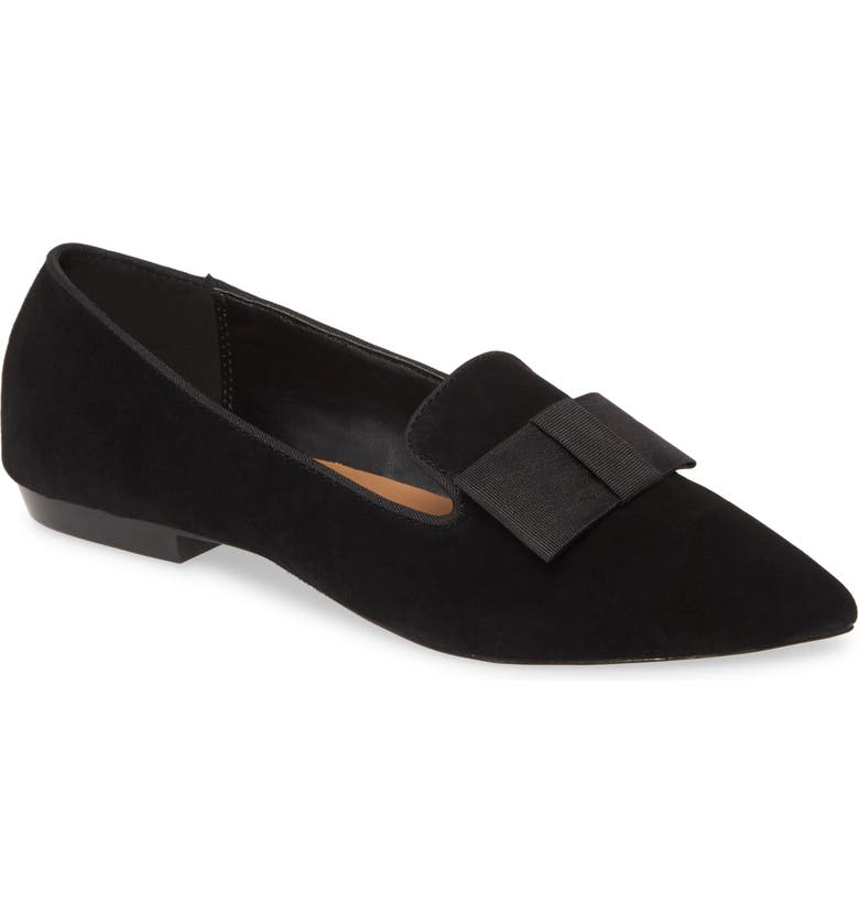 KENSIE Madeline Bow Pointed Toe Loafer Flat, Main, color, BLACK SUEDE