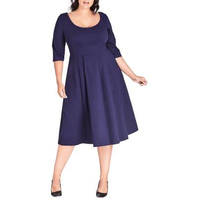Plus Size City Chic Scoop Neck A-Line Dress, Blue