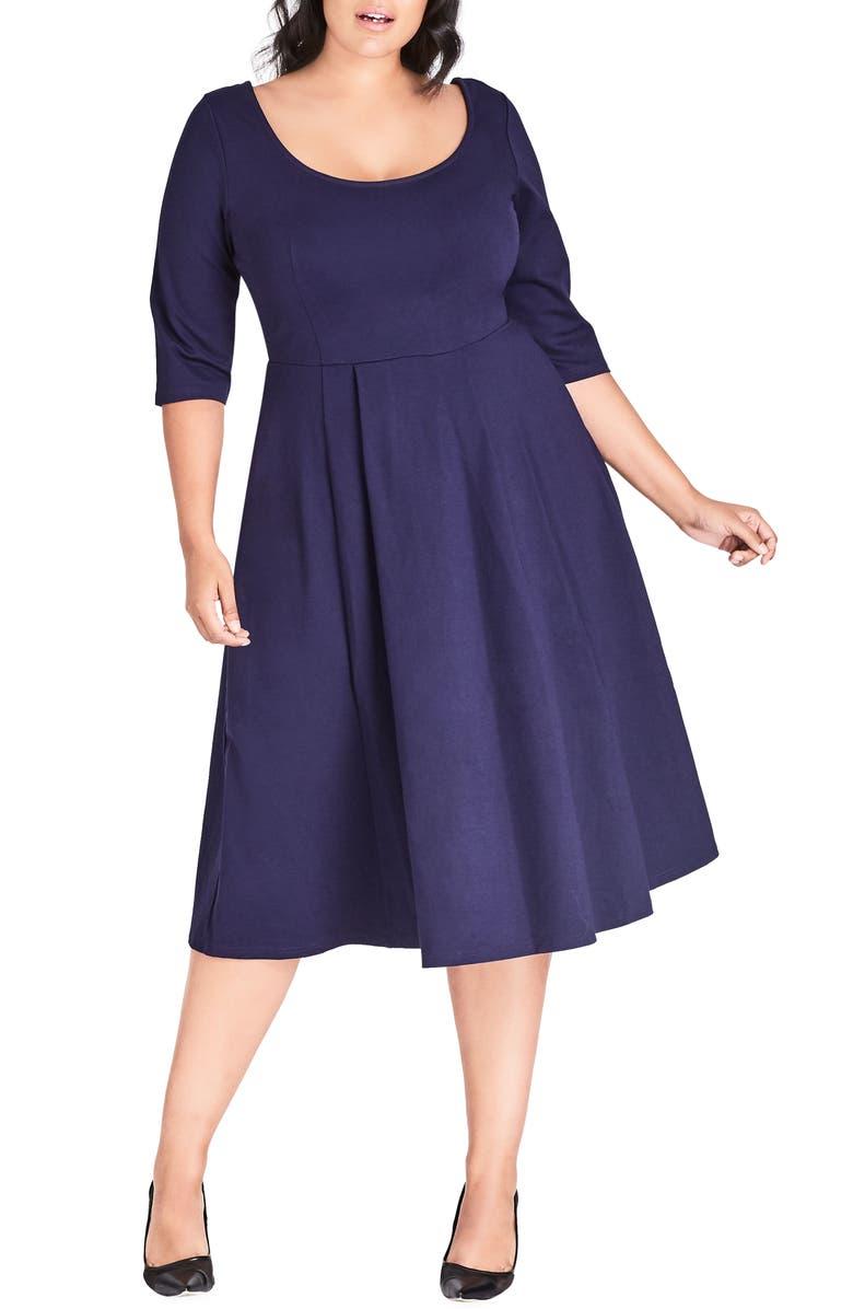 CITY CHIC Scoop Neck A-Line Dress, Main, color, NAVY