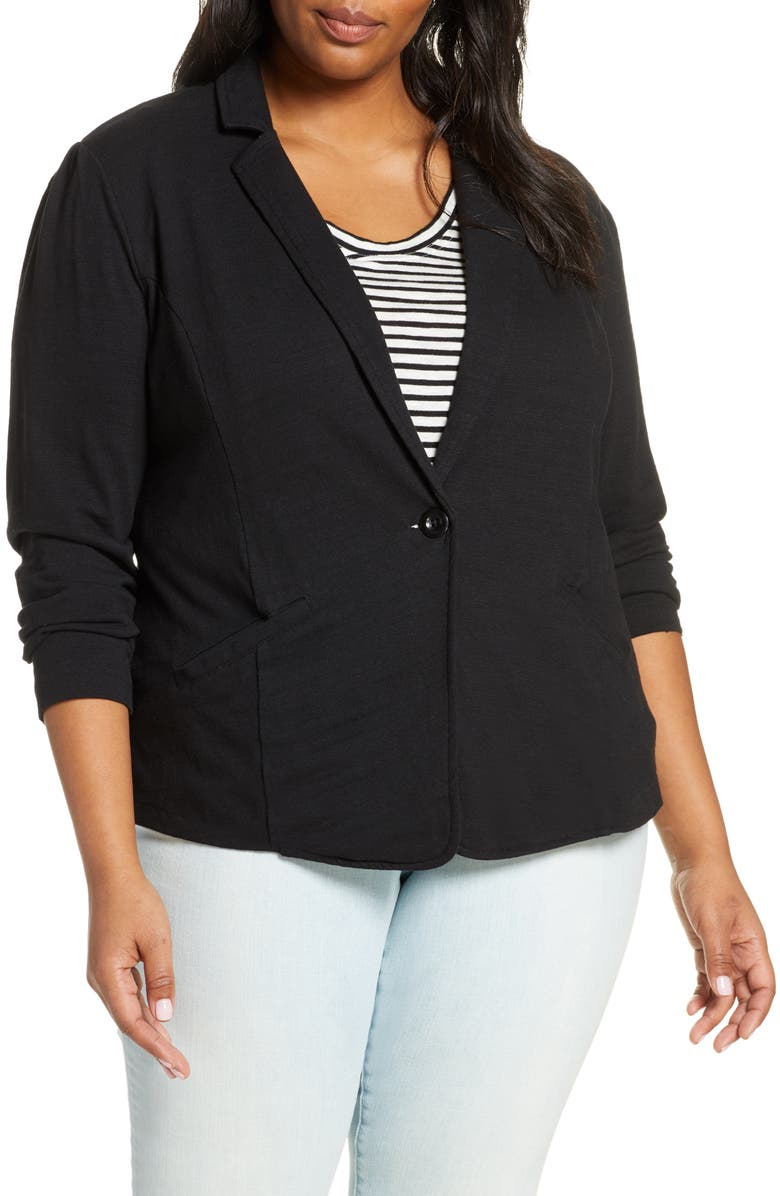 CASLON<SUP>®</SUP> Knit Blazer, Main, color, BLACK