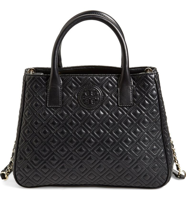 TORY BURCH Marion Quilted Lambskin Tote, Main, color, 001