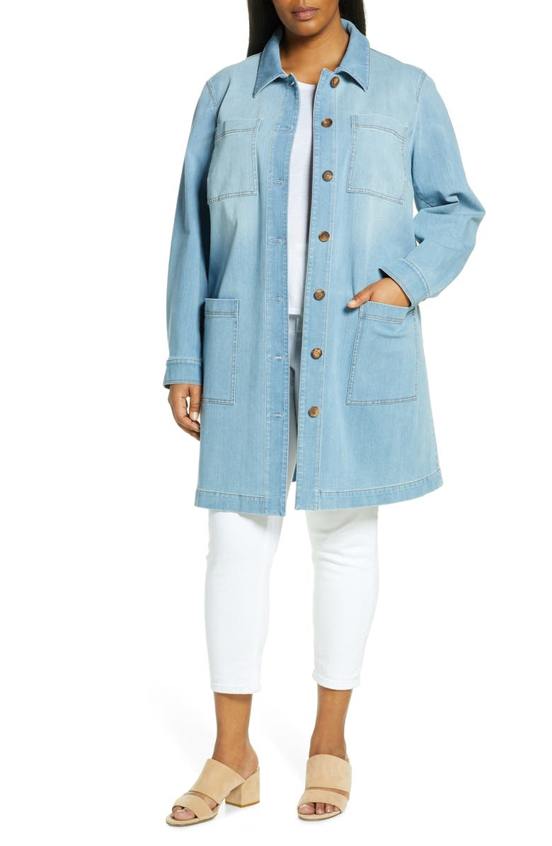 LAFAYETTE 148 NEW YORK Corinthia Longline Chambray Jacket, Main, color, BLUE JAY