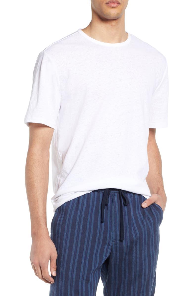VINCE Slim Fit Linen & Cotton T-Shirt, Main, color, 100
