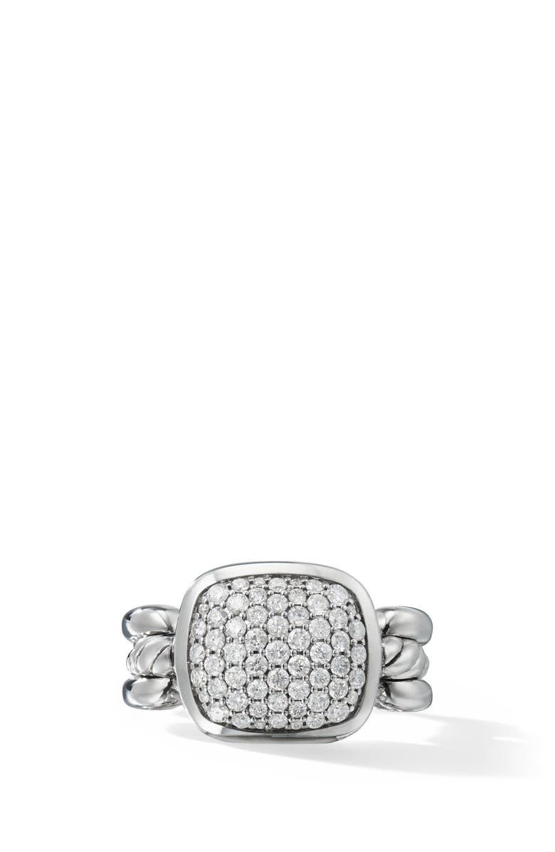 DAVID YURMAN Wellesley Link Ring with Diamonds, Main, color, SILVER/ DIAMOND