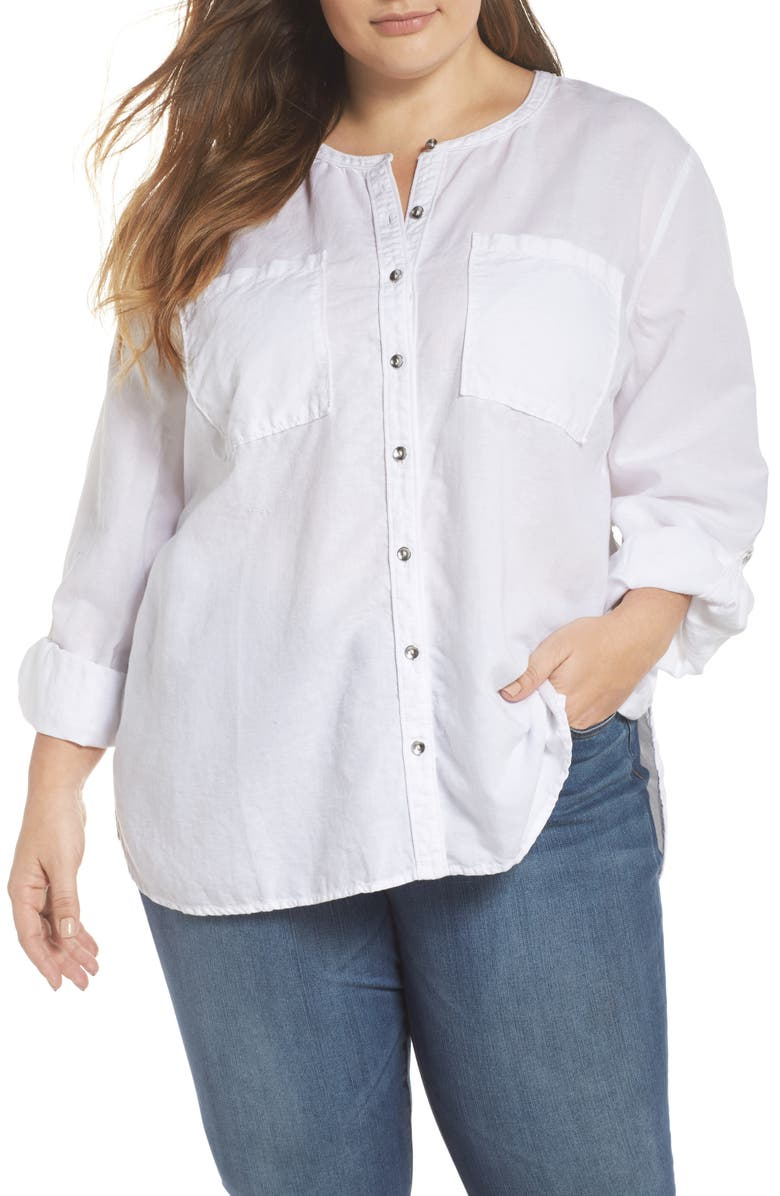 CASLON<SUP>®</SUP> Long Sleeve Top, Main, color, WHITE