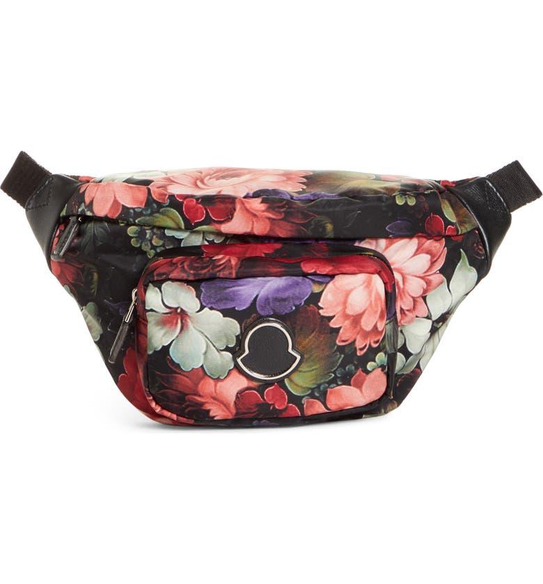 MONCLER Floral Print Belt Bag, Main, color, RED