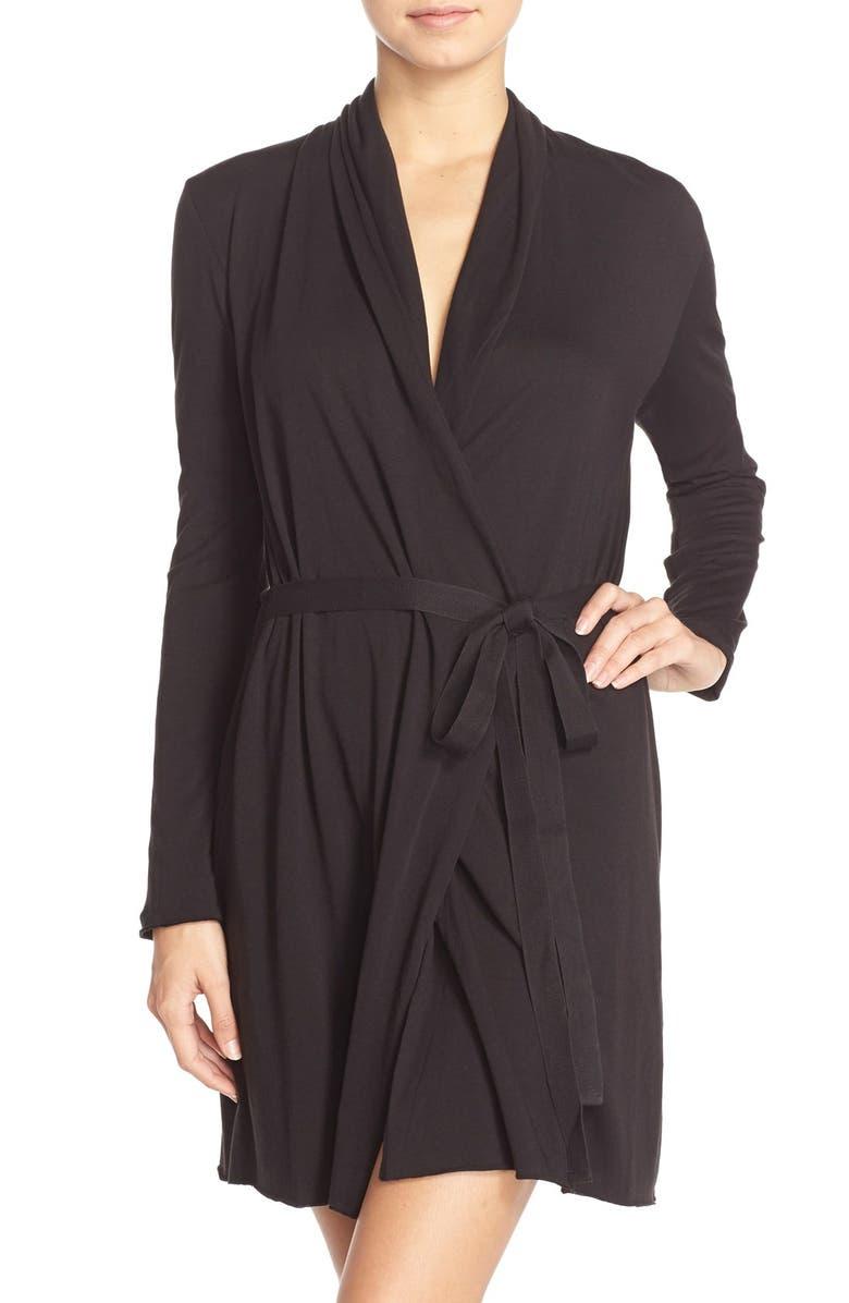SKIN Pima Cotton Wrap Robe, Main, color, 001