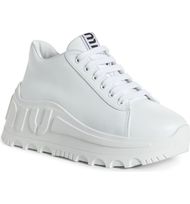 MIU MIU Logo Platform Wedge Sneaker, Main, color, WHITE