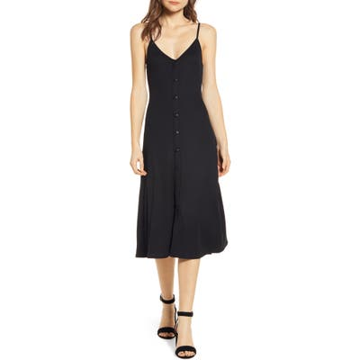 Chelsea28 Ribbed Button Front Dress, Black