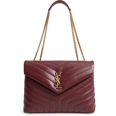Saint Laurent Medium Loulou Matelasse Leather Shoulder Bag - Burgundy
