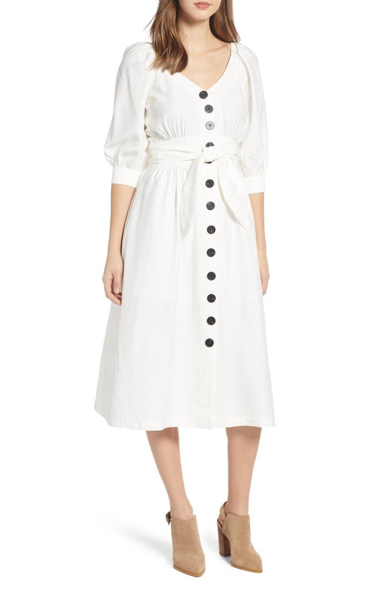 MOON RIVER Puff Sleeve Tie Waist Dress, Main, color, 100