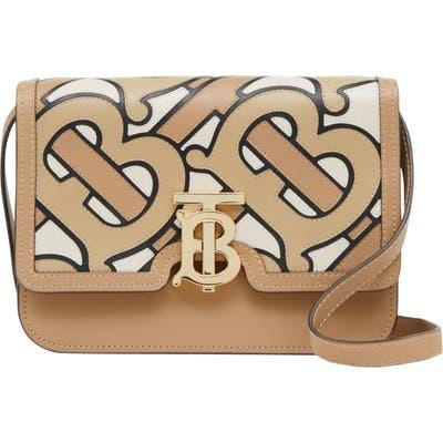 Burberry Tb Pieced Monogram Leather Shoulder Bag - Beige