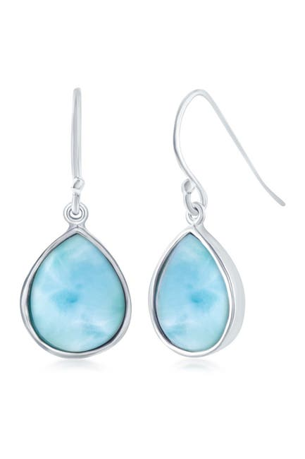 Image of Simona Jewelry Sterling Silver Larimar Teardrop Shape Drop Earrings