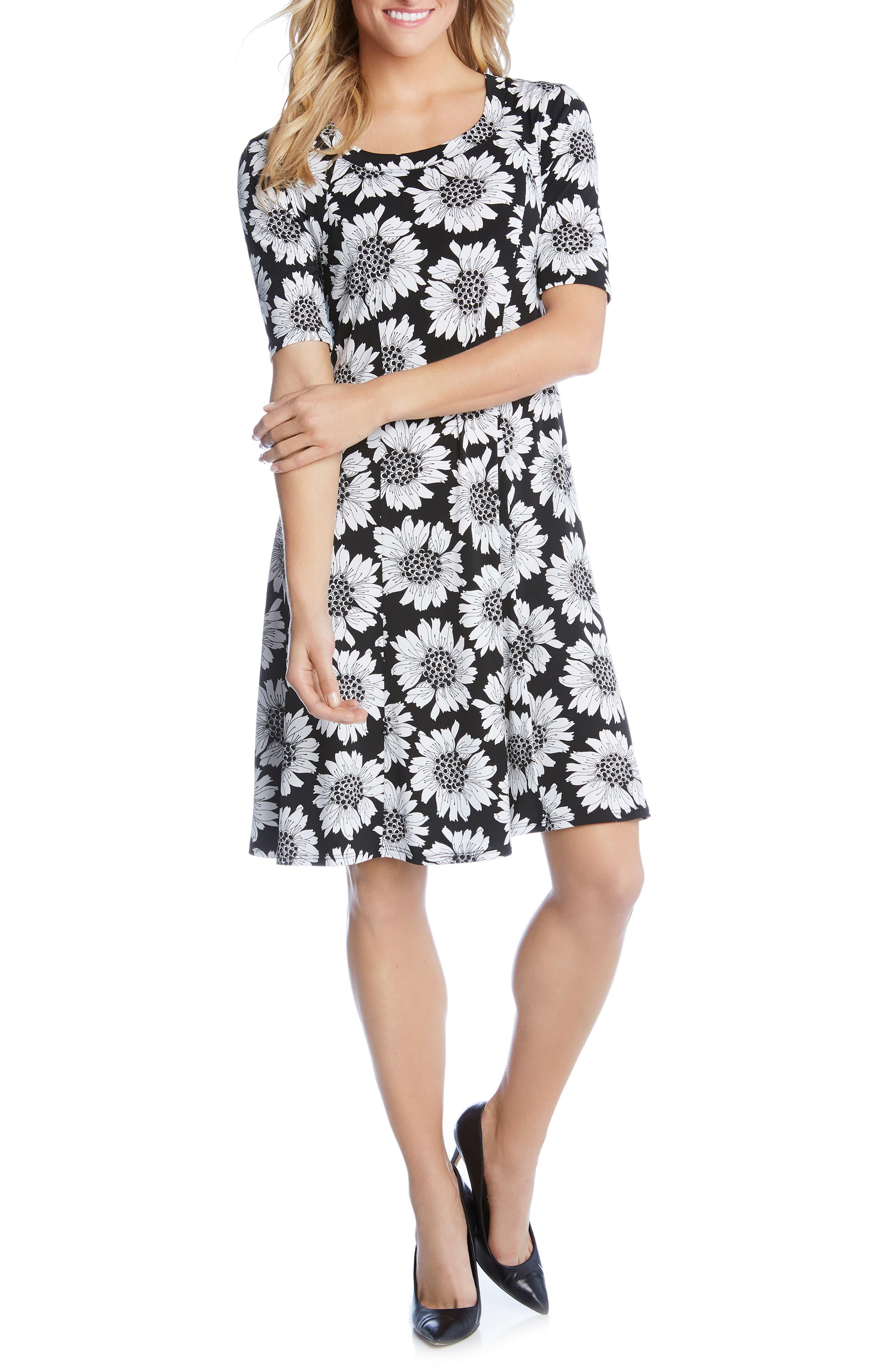 Karen Kane Daisy Print Shift Dress, Black