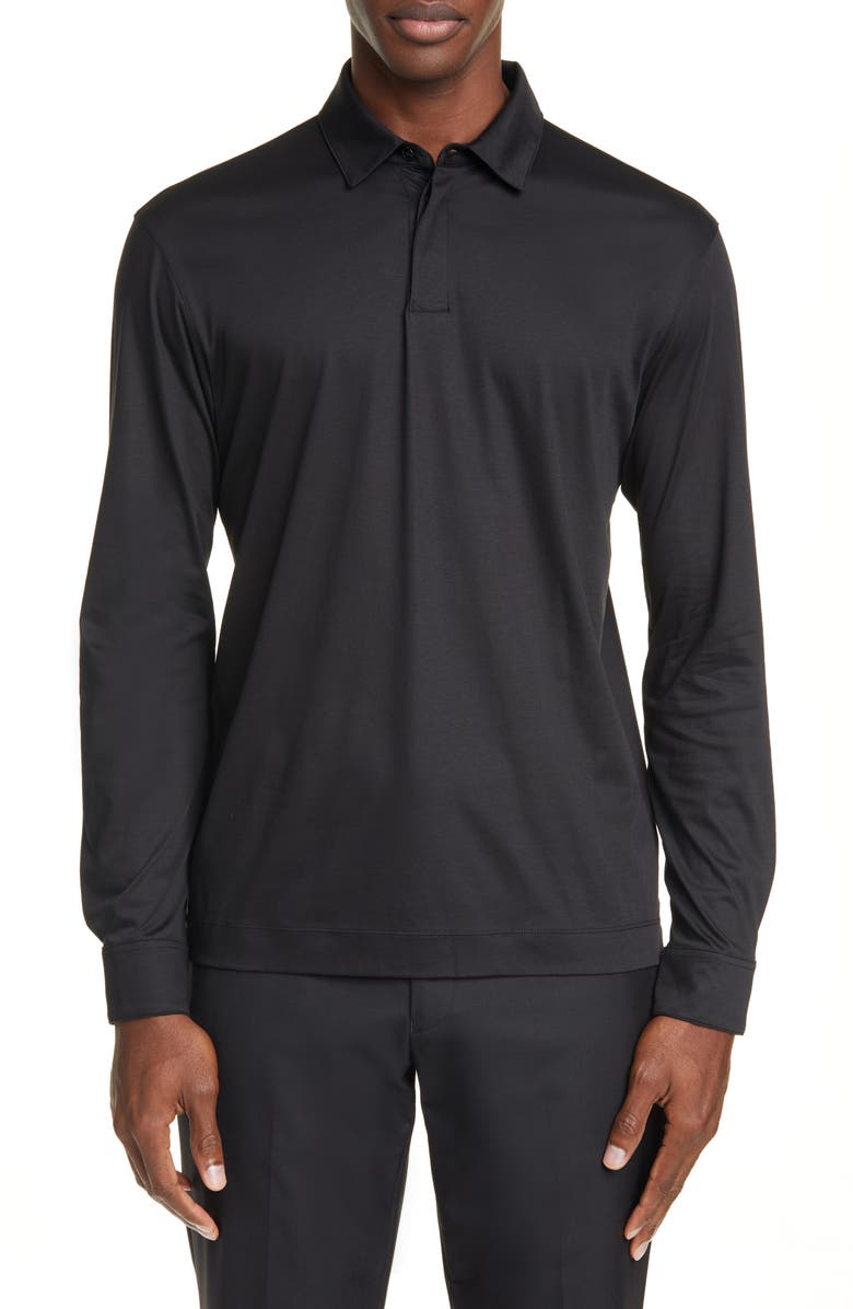 Z ZEGNA Slim Fit Long Sleeve Polo Shirt, Main, color, BLACK