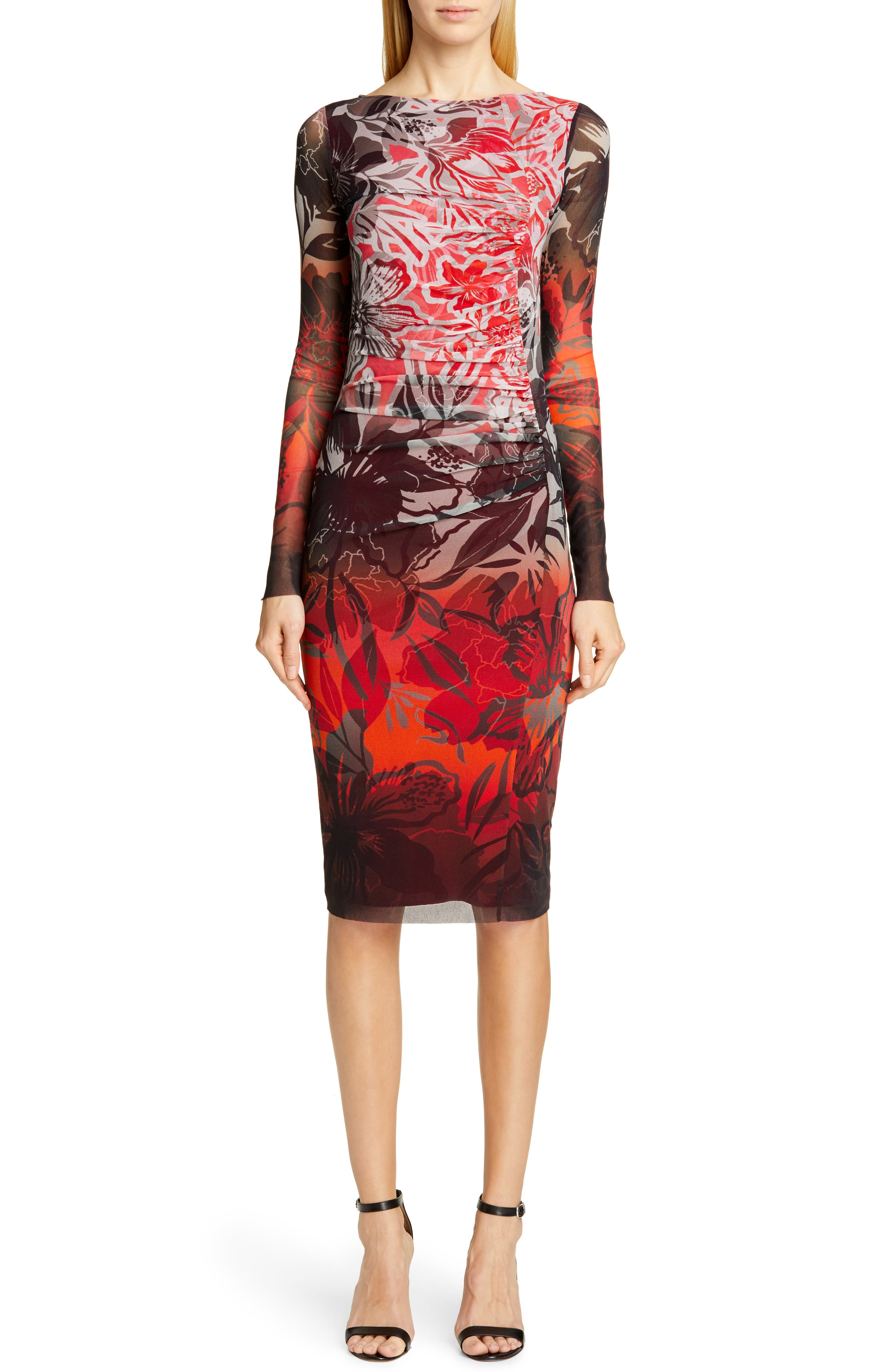 Fuzzi Degrade Floral Long Sleeve Ruched Dress, Red