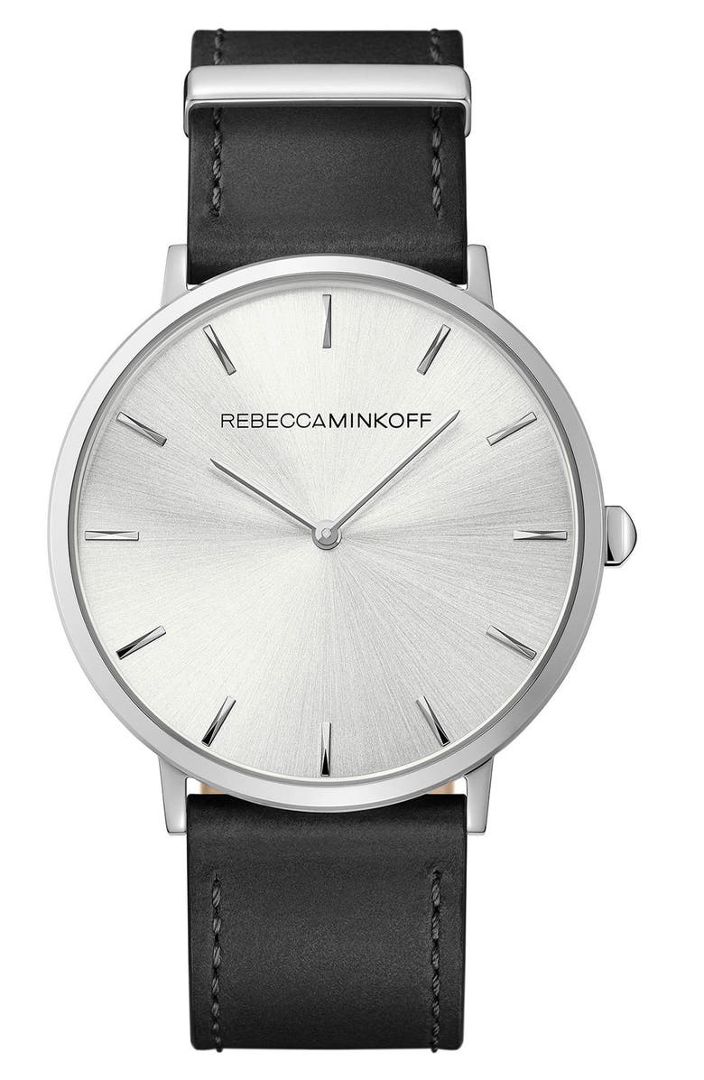 REBECCA MINKOFF Major Leather Strap Watch, 40mm, Main, color, BLACK/ SILVER