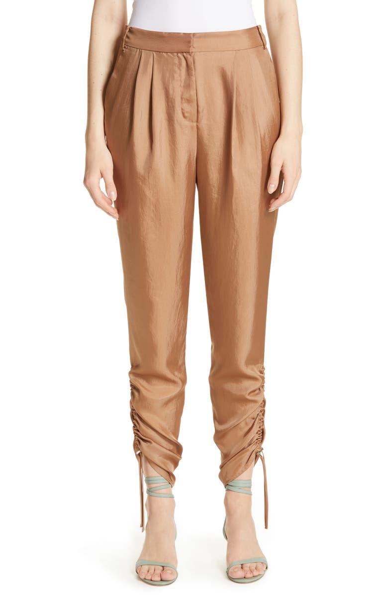 TIBI Pleated Mendini Twill Pants, Main, color, SABLE BROWN
