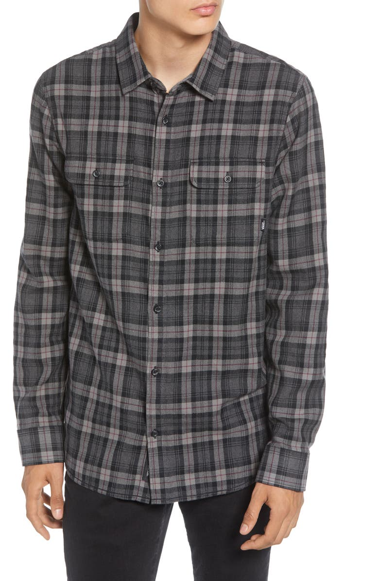 VANS Sycamore Classic Fit Plaid Button-Up Flannel Shirt, Main, color, BLACK