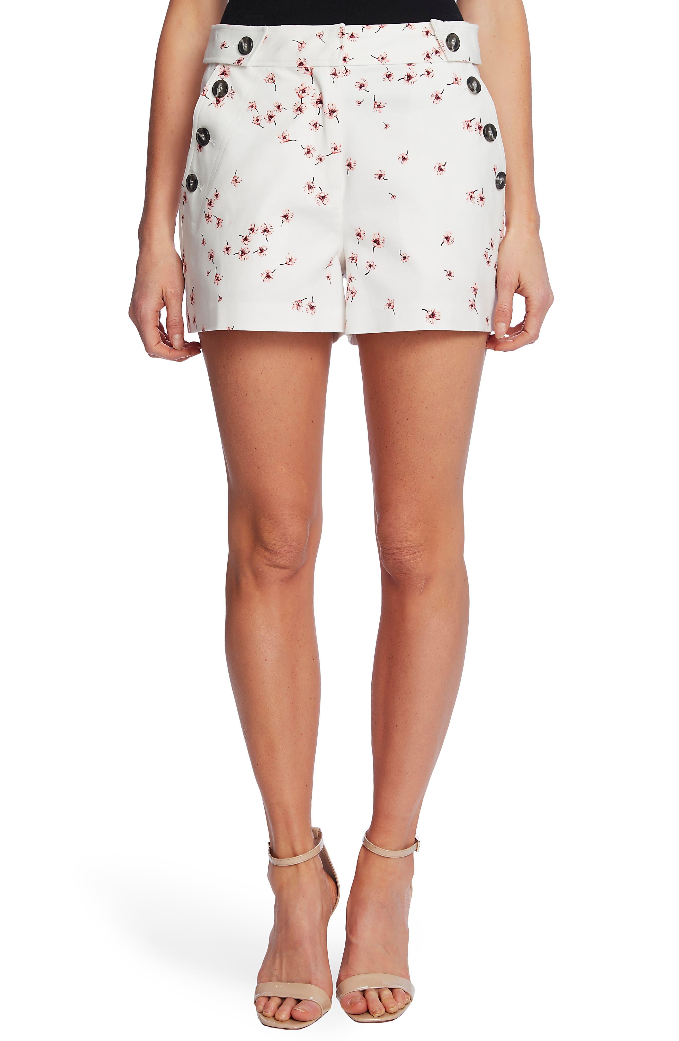 Cascading Florets Side Button Shorts