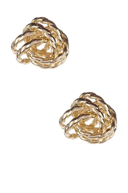 Image of Candela 14K Yellow Gold Corrugated Love Knot Earrings