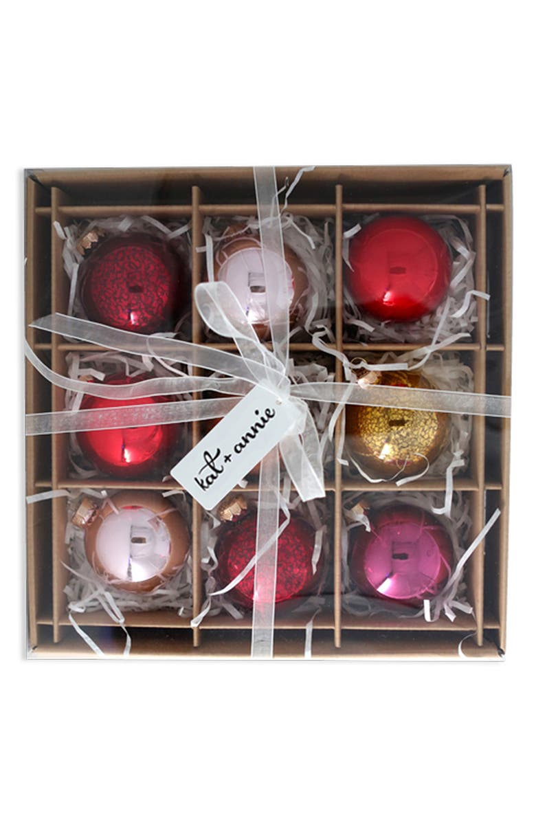 KAT + ANNIE Set of 9 Assorted Ball Ornaments, Main, color, MULTI
