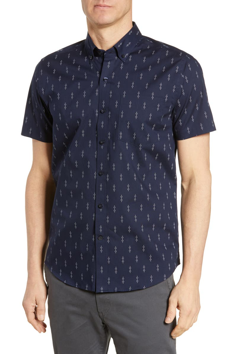 CUTTER & BUCK Strive Classic Fit Keyhole Print Shirt, Main, color, LIBERTY NAVY