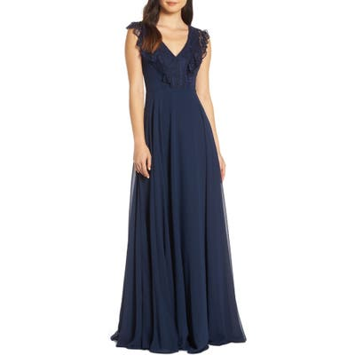 Hayley Paige Occasions Lace V-Neck Chiffon Evening Dress, Blue